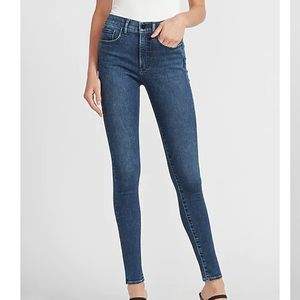 Express Mid Rise Faded Dark Wash Skinny Jeans; 2R